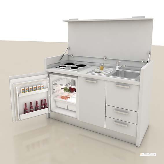 mini cuisine bois 158 cm B blanche