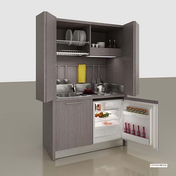 mini cuisine bois 128 cm PC chêne gris